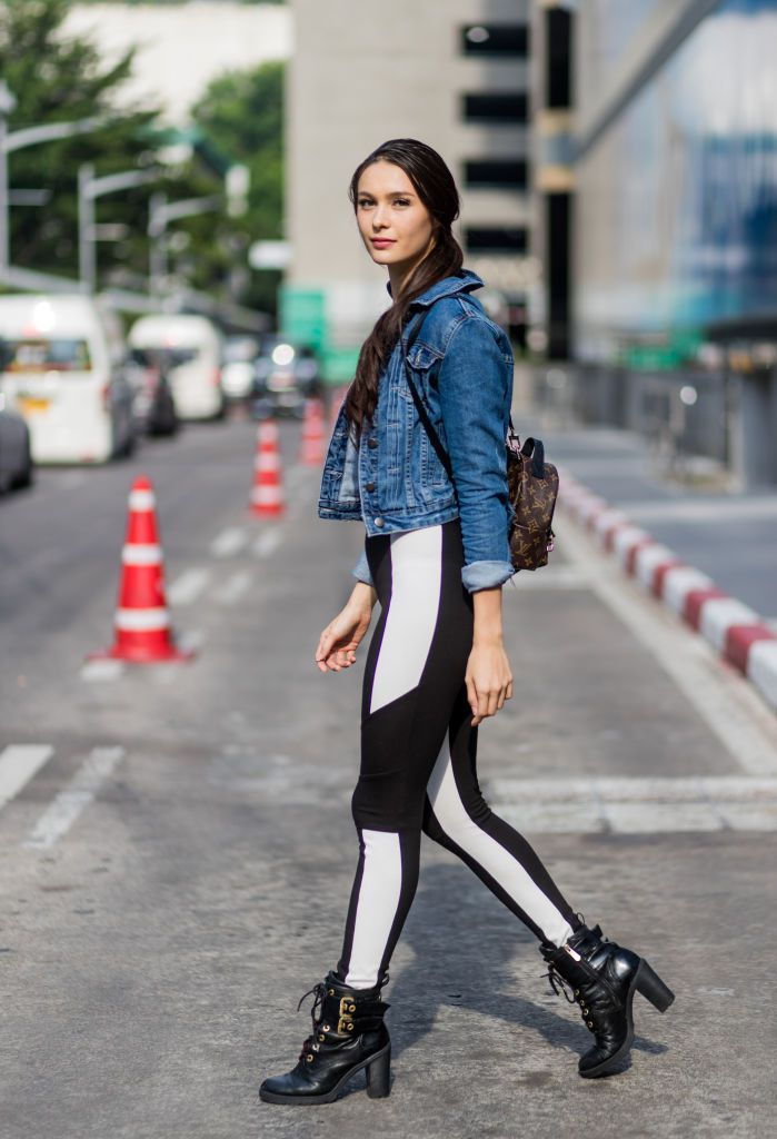 Ulica style woman in leggings and jean jacket