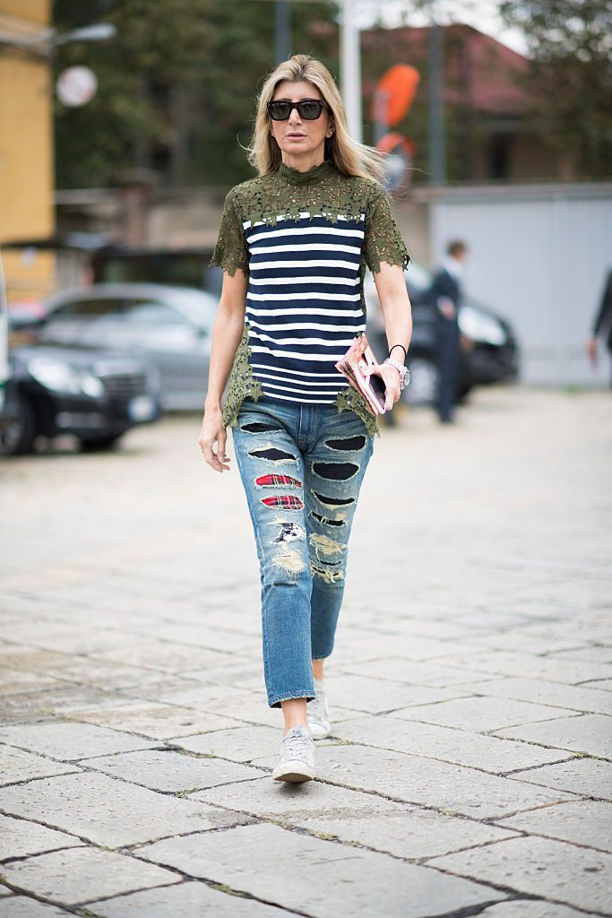 Stradă style lace striped tee and patchwork jeans