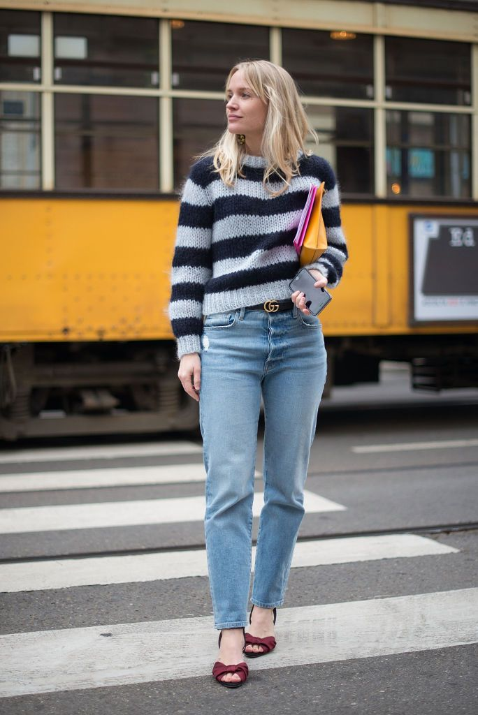 Stradă style striped sweater and boyfriend jeans