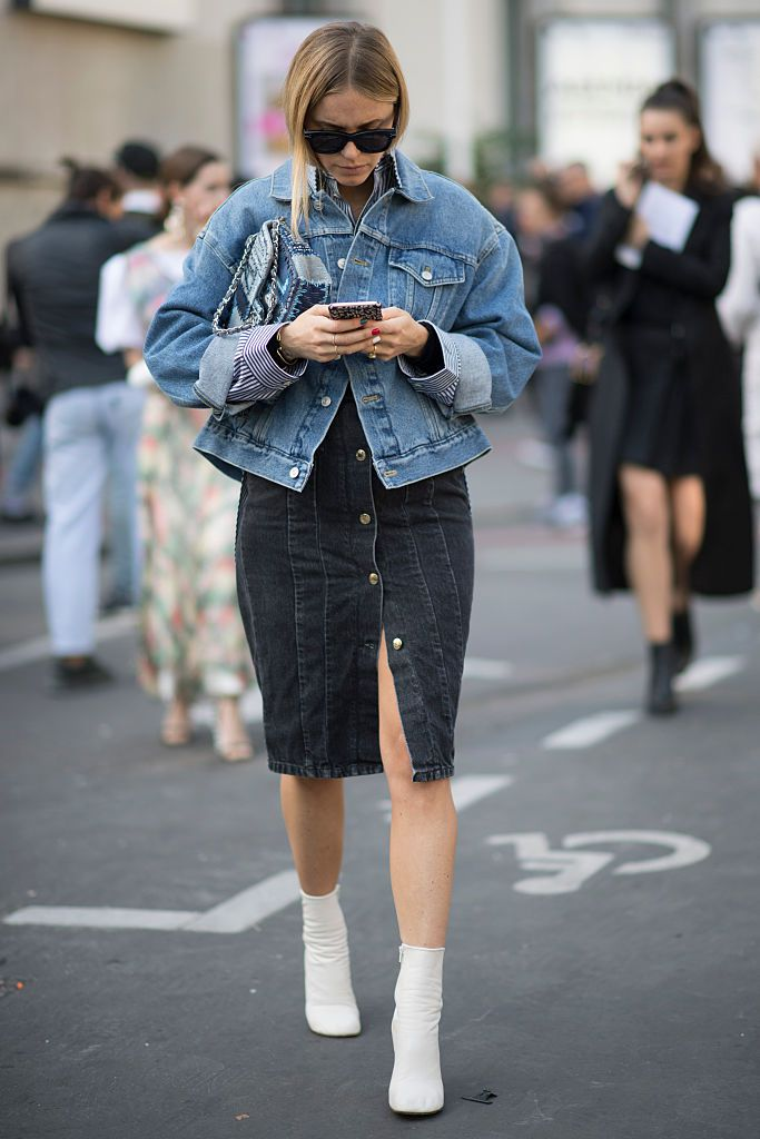 רְחוֹב style denim jacket and skirt