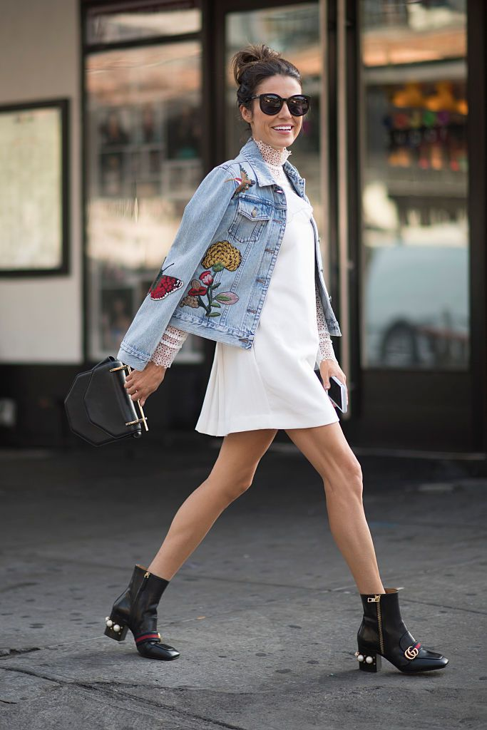 Stradă style denim jacket and summer dress