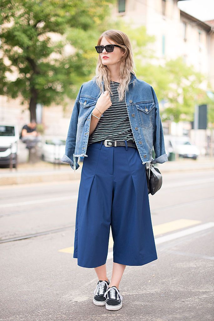 רְחוֹב style denim jacket and culottes