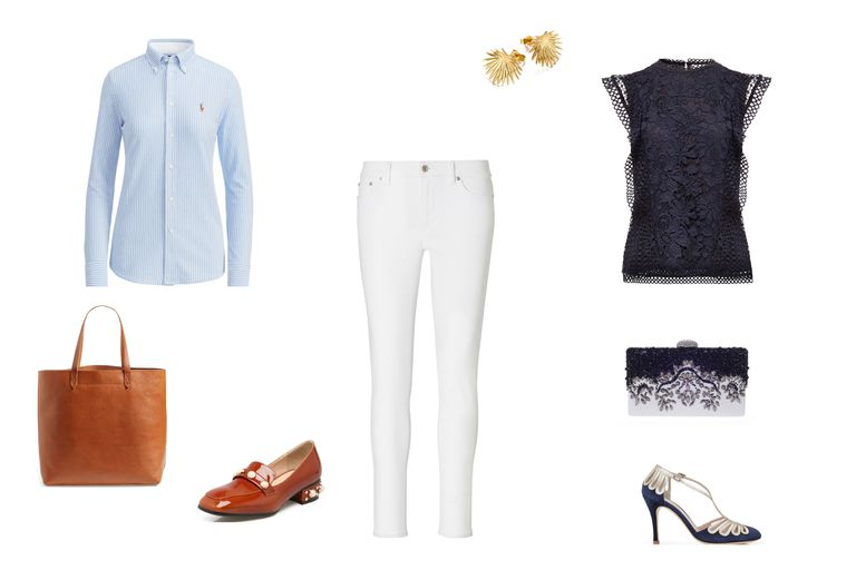 दिन to night outfit idea with white jeans