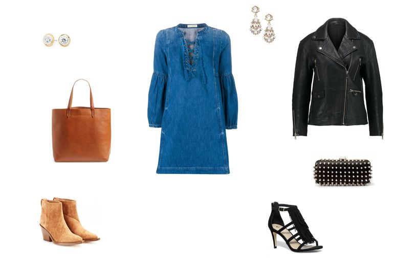 दिन to night outfit with a denim dress