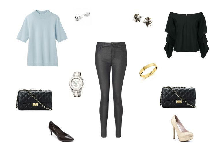 दिन to night outfit idea with black coated jeans