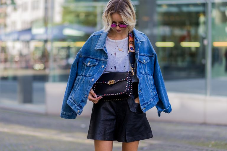 Улица style jean jacket and skirt