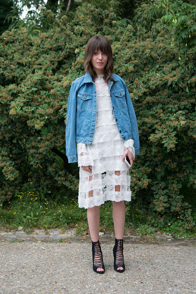 Улица style white dress and jean jacket
