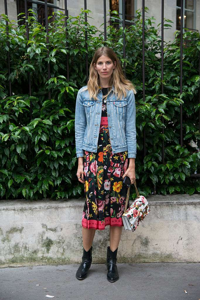 Пролеће fashion look with a denim jacket and floral dress