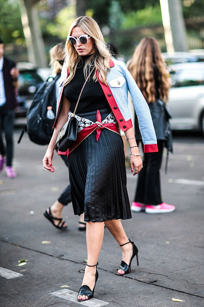Улица style in denim and a skirt