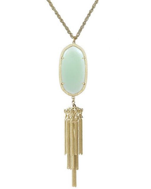 केन्द्र Scott Signature Rayne Tassel Pendant Necklace in Chalcedony & Gold