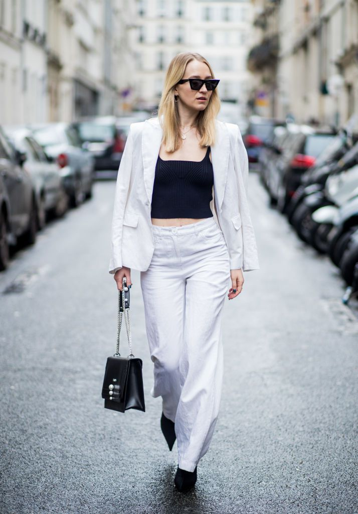 Улица style white suit and black crop top