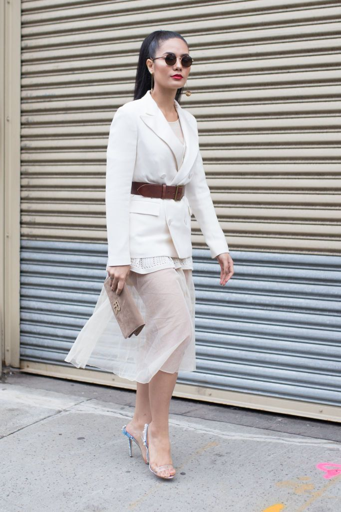 Улица style outfit for women sheer skirt and white blazer