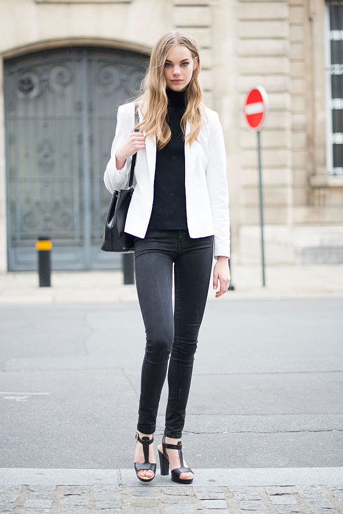 бео blazer and black jeans and sweater outfit for women