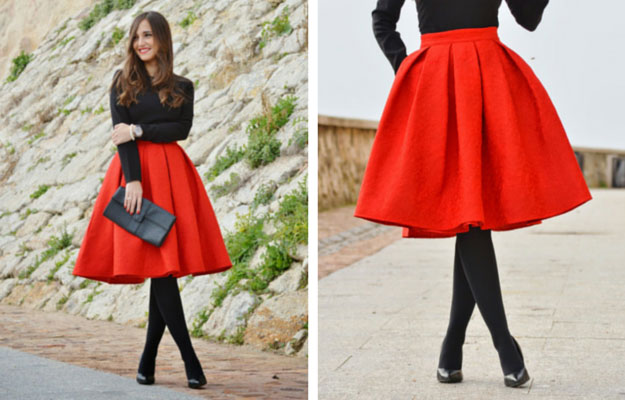roșu Midi Skirt Winter Outfit