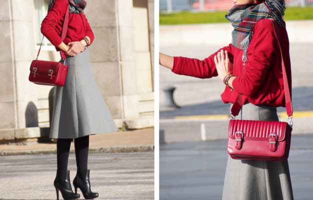 Gri Midi Skirt Winter Outfit Idea