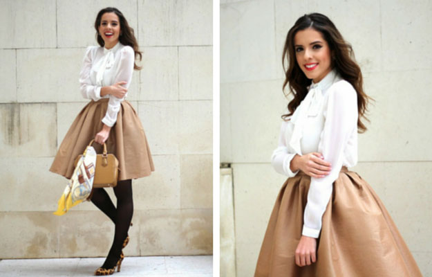 De aur Midi Skirt Winter Outfit Idea