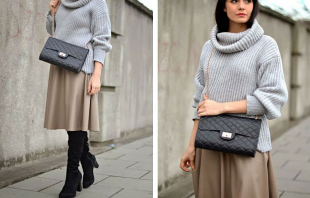 Cămilă Midi Skirt Winter Outfit Idea