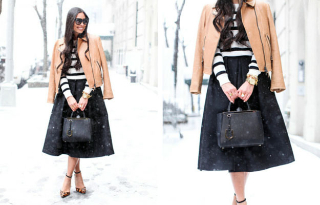 Negru Midi Skirt Winter Outfit Idea