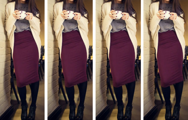roșu Wine Midi Skirt Winter Outfit Idea