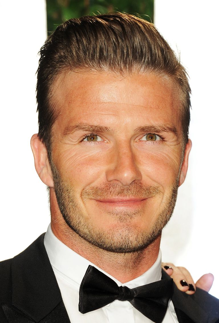 David Beckham with brushed back hair