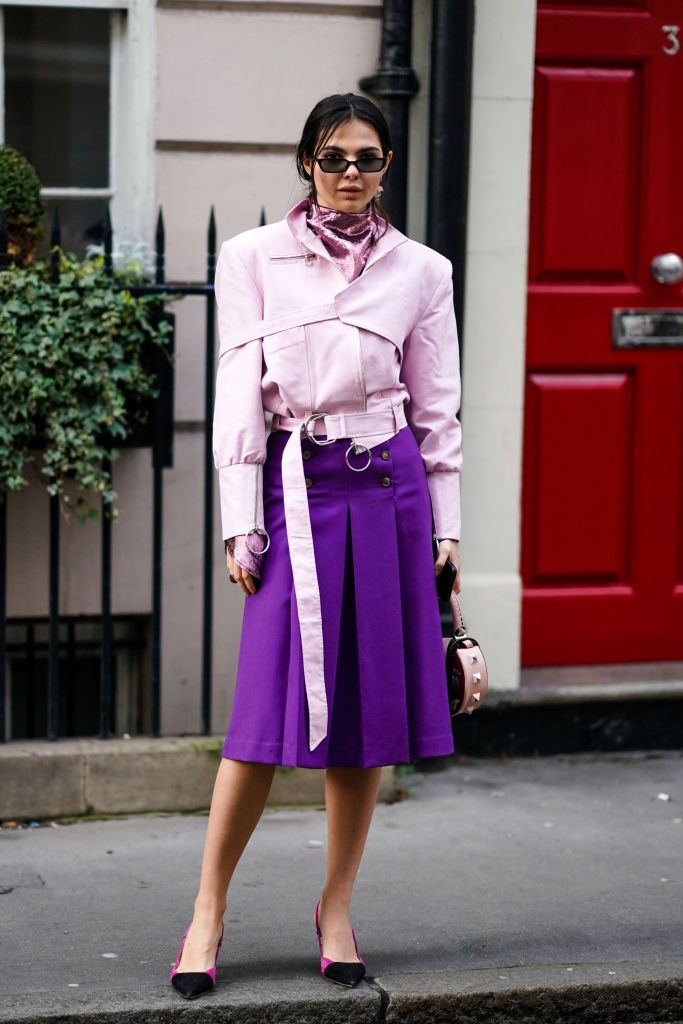 Пинк Jacket and Purple Skirt