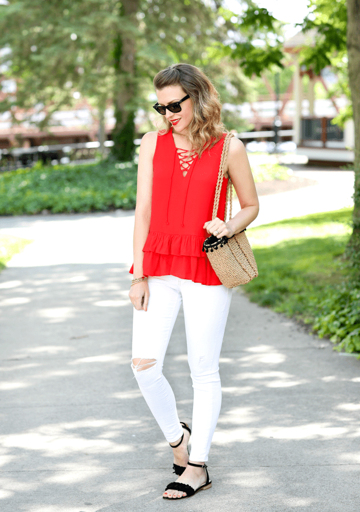 Vit skinny jeans outfit for summer