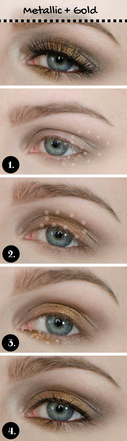 เมทัลลิ and Gold Makeup Look for Blue Eyes