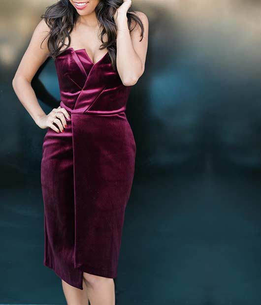 शिष्ट Burgundy Velvet Dress - New Year's Eve Outfit