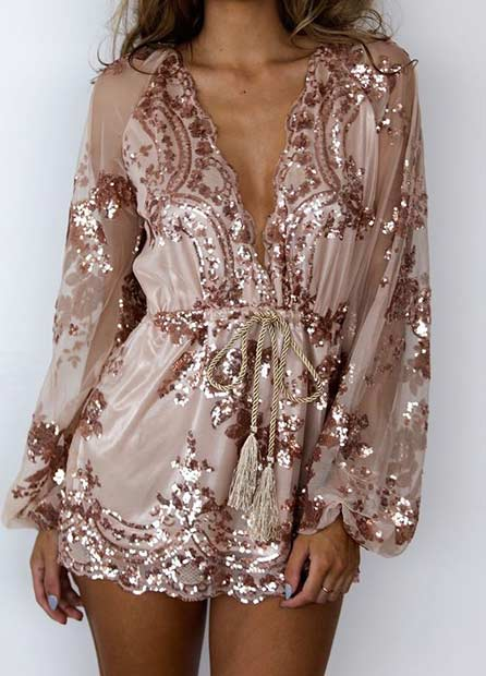 नंगा Sequin Playsuit for New Year's Eve