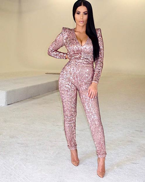 गुलाबी Sequin Jumpsuit Outfit New Year's Eve