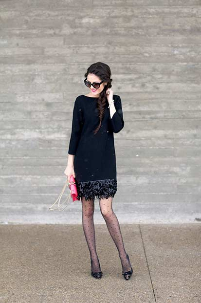 थोड़ा Black Dress NYE Outfit Idea