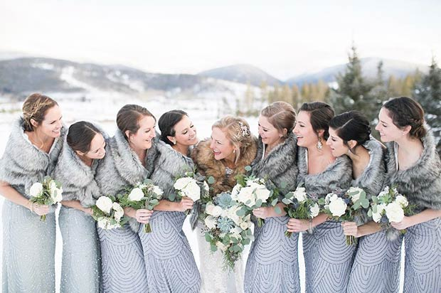 siva Bridesmaid Winter Dresses and Faux Fur Wraps