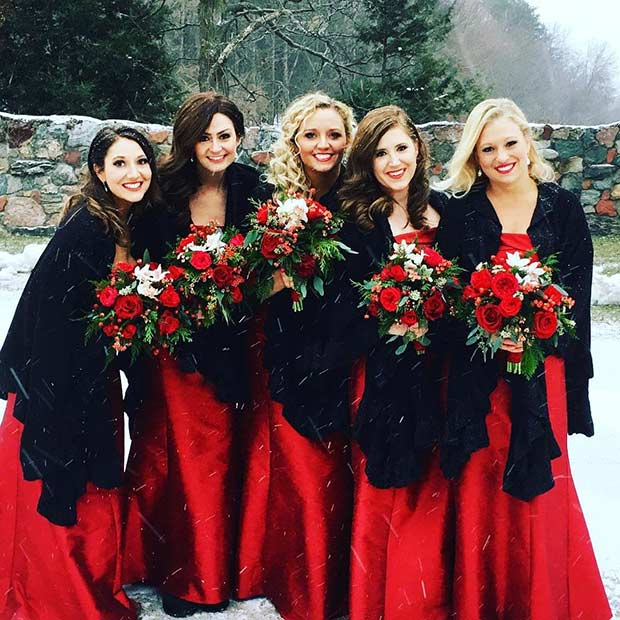 Crno and Red Winter Bridesmaid Style