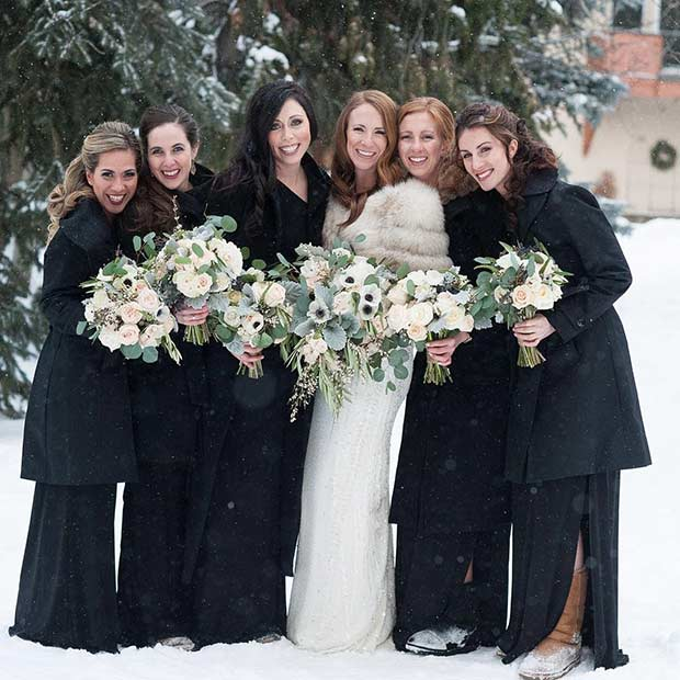 Crno Bridesmaid Styles with Boots for a Winter Wedding