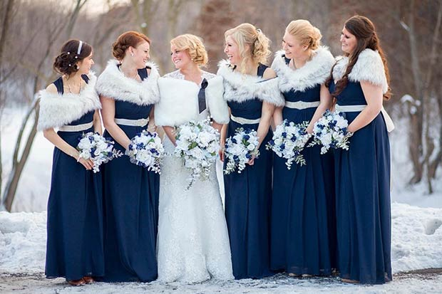 Mornarica Blue Winter Bridesmaids and White Fur Shawls