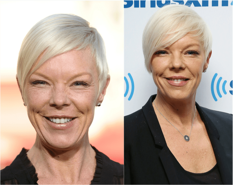 Tabatha Coffey in her signature platinum pixie