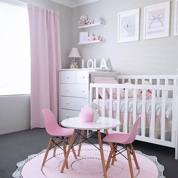 Пинк and White Nursery Idea for a Baby Girl