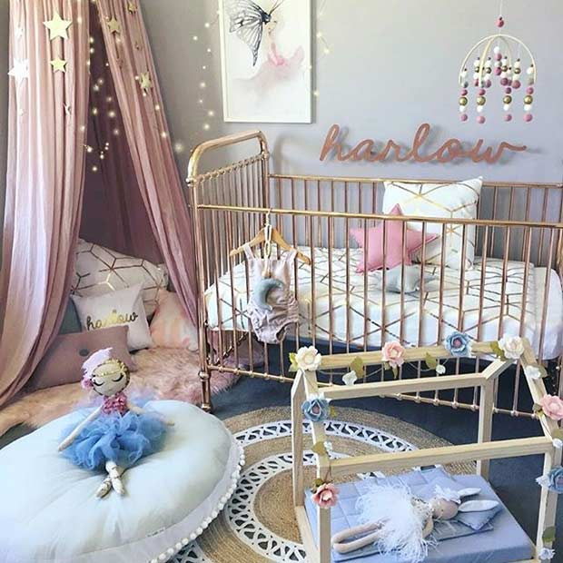 Модеран Pink and Gold Nursery for a Girl