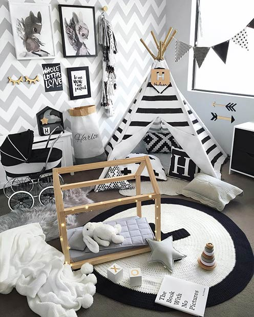 Модеран Black and White Playroom Idea for Toddlers