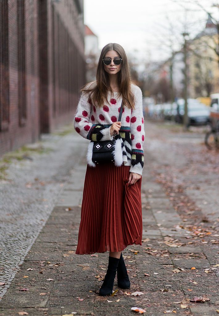 polka dot sweater and maxi skirt