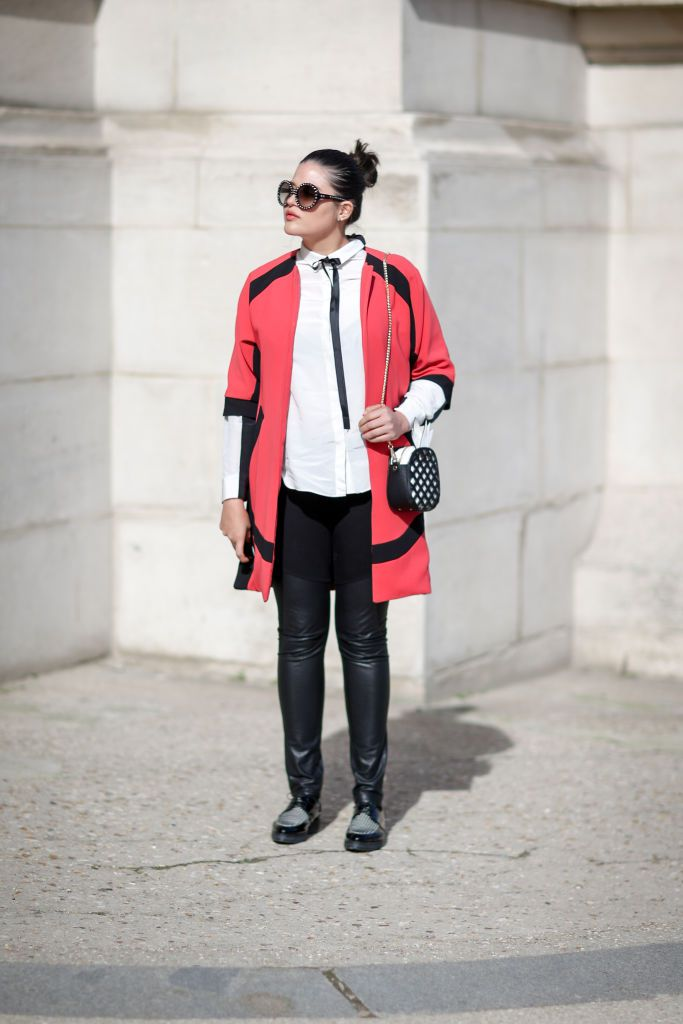 Gata style in red jacket and leather pants