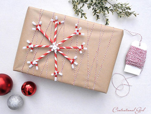 कागज़ Straw Snowflake Brown Paper Christmas Gift Wrap