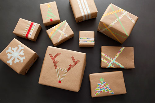 रंगीन Tape Brown Paper Christmas Gift Wrapping