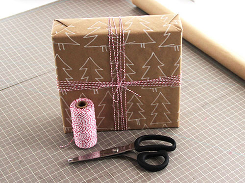क्रिसमस Trees Brown Paper Wrapping Idea