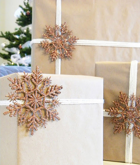 sparkly Snowflake Brown Paper Christmas Gift Wrap