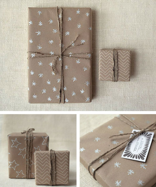 भूरा Kraft Paper Christmas Gift Wrapping