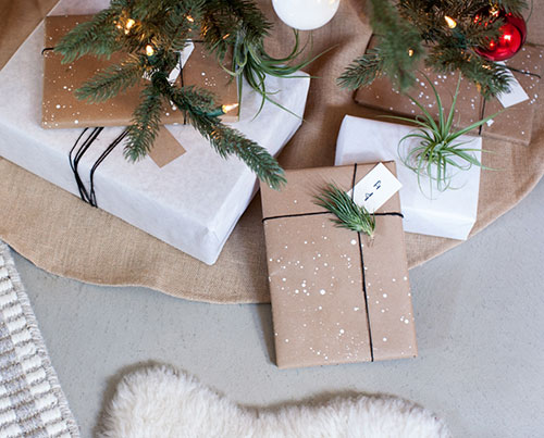 चित्रित Kraft Paper Christmas Gift Wrapping