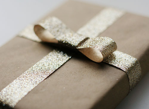 सोना Glitter Bow Kraft Paper Gift Wrapping