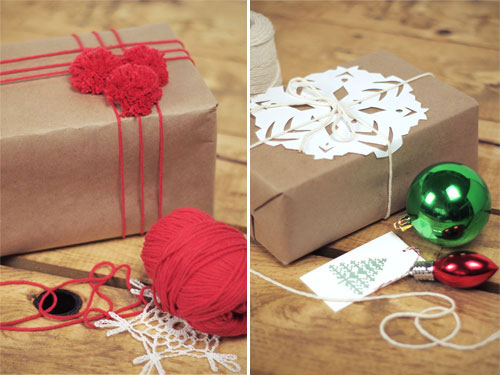 पोम Pom Snowflake Brown Paper Gift Wrapping