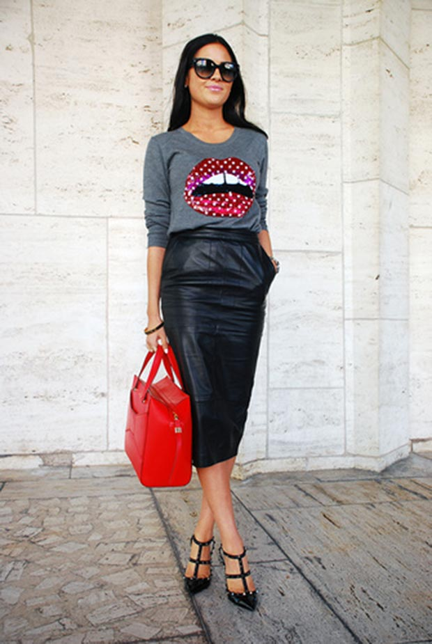 Црвена Lip Sweater Outfit